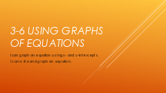 8 Lesson 3-6 Using Graphs of Equations