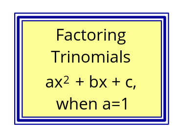 11B: Factoring Trinomial a=1 (Video)
