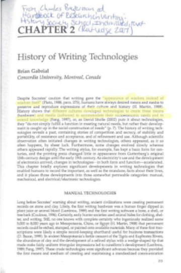 Brian Gabrial History of Writing Technologies