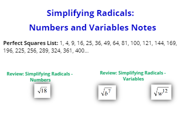 VIDEO: Simplifying Radicals: Numbers and Variables