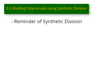 3.3 Synthetic Division Video
