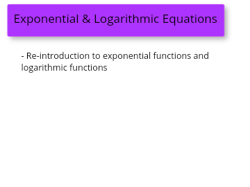 Re-Intro to Exponentials and Logarithms