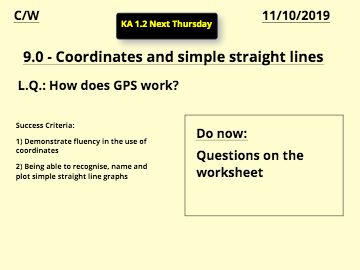 12 - Coordinates and simple straight lines